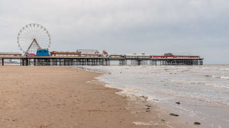 Blackpool, England, UK - April 28, 2019: View from the beach towards the Central Pier