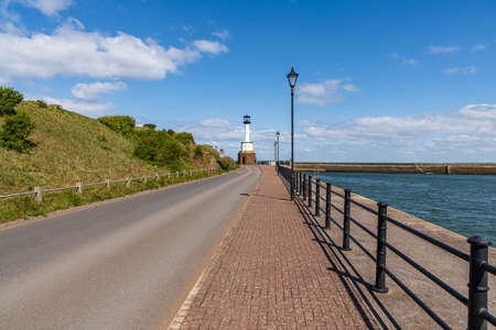 Maryport, Cumbria, England, UK - May 04, 2019: The Old Maryport Lighthouse, seen from Salmoor Way Editorial