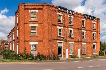Sutton Bridge, Lincolnshire, England, UK - April 26, 2019: The derelict remains of the Bridge Hotel