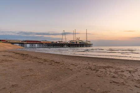Blackpool, England, UK - April 29, 2019: Evening light over the South Pier