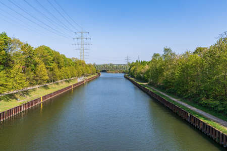View at the Rhine-Herne Canal in Bottrop, North Rhine-Westphalia, Germany
