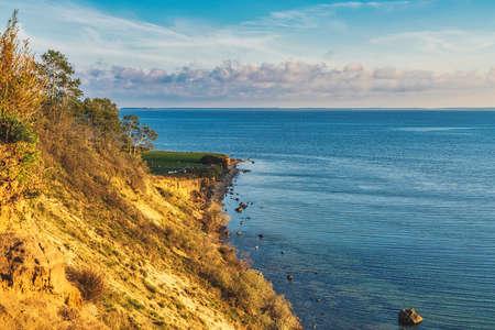 The Baltic Sea Coast and cliffs in Klein Zicker on Ruegen Island, Mecklenburg-Western Pomerania, Germany