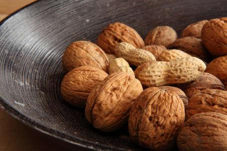 Mix of walnuts and peanuts