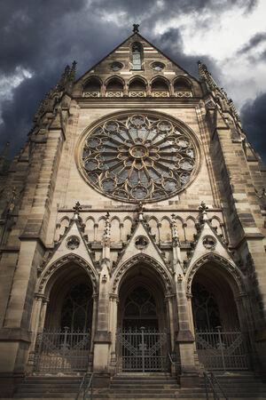 Spooky church with a dramatic sky