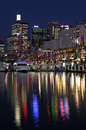 centrepoint tower: Sydney's Darling Harbor at night Stock Photo