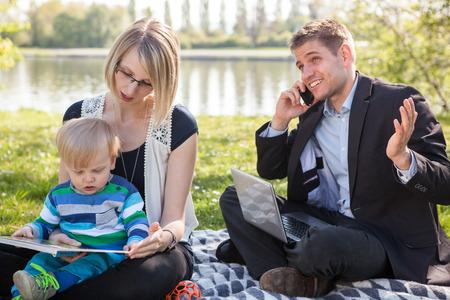 Balance between work and family life Stock Photo