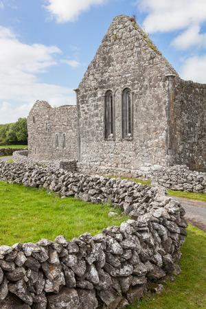ancient ireland celtic cross: Kilmacduagh Monastery, Republic of Ireland Stock Photo