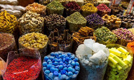 Colorful different spices in the spice market souk in old Dubai