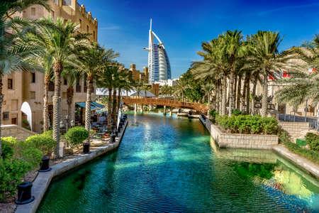 Dubai,UAE / 11. 05. 2018 : Burj al arab from souk madinat jumeirah