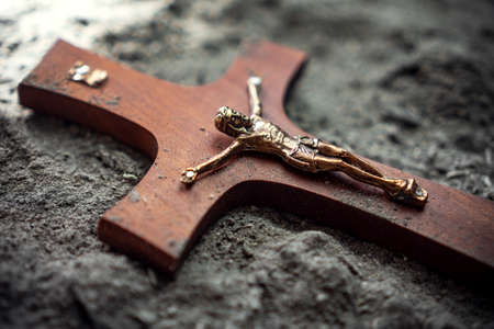 christian cross symbol in the ash religious easter concept Stock Photo
