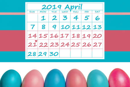 Happy Easter April 2019 Calendar colorful with easter eggs