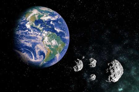 Terre dans le scape avec des pierres de météorite et de la lumière