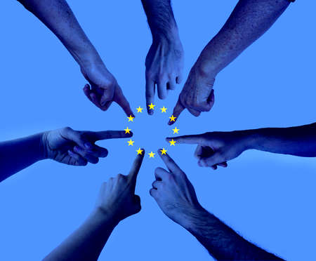 hands pointing on the same spot with an layered european union flag agreement Elections to the European Parliament concept