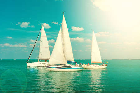 Sail Boats on the blue Lake Balaton Hungary with sunshine