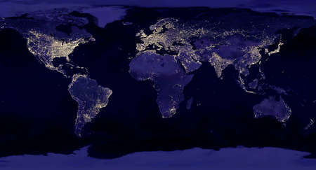 """Earth night view from space map with city lights satellite-based observations. """"Elements of this image furnished by NASA light pollution map 版權商用圖片"""