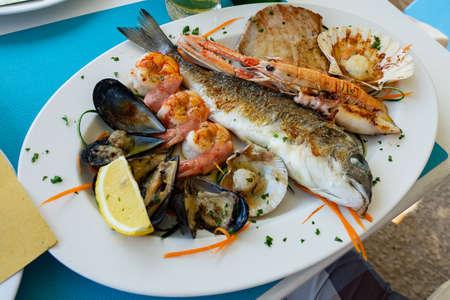 seafood fish platter in Valun Cres island Croatia Stok Fotoğraf