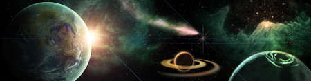 colofrul Space scene with planets, stars and galaxies. Panorama Horizontal view .