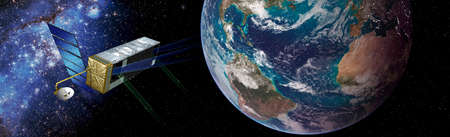 NASAs Terrestrial Planet Finder flying next to the planet earth in the space Elements of this image furnished by NASA . Banco de Imagens