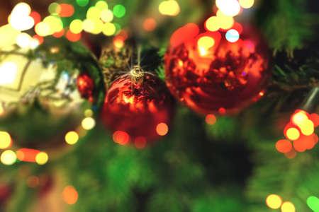 burry unsharp vivid bokeh ornate christmas background .