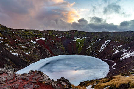 kerith crater in Iceland natural wonders adventures on Iceland . 免版税图像