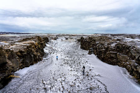 between the european and american tectonic plates in Iceland