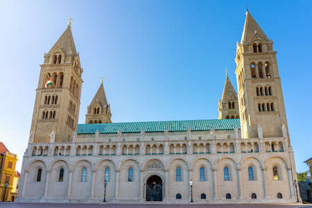 Basilica of St. Peter St. Paul, Pecs Cathedral in Hungary sunny Stock Photo