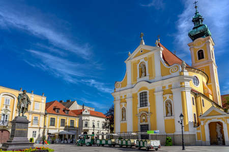little tourist train on the square in Gyor city in Hungary . Standard-Bild