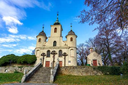 Kálvária Church in KÅ'szeg Hungary station of the hungarian national blue trail 免版税图像 - 158434122