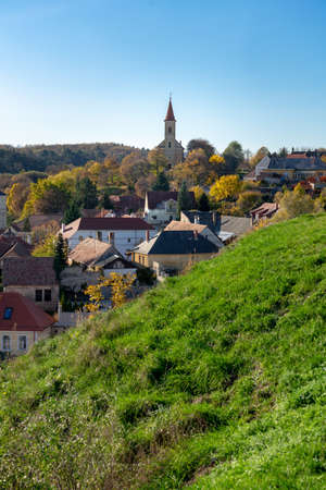 The green hill garden with green grass in the middle of old town Veszprém, Hungary