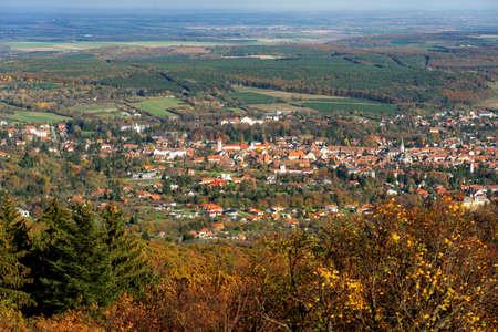 View from Óház kilátó on Kőszeg hills Hungary view of the city above 免版税图像