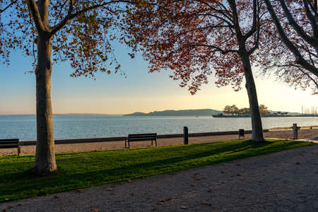 Tagóra promenade in Balatonfüred next to Lake Balaton colorful autumn