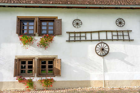 traditional renovated barn building in Őrség Hungary with windows