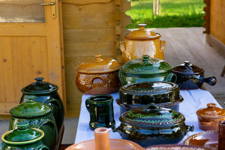 Traditional local pottery products in Őrség Hungary 免版税图像