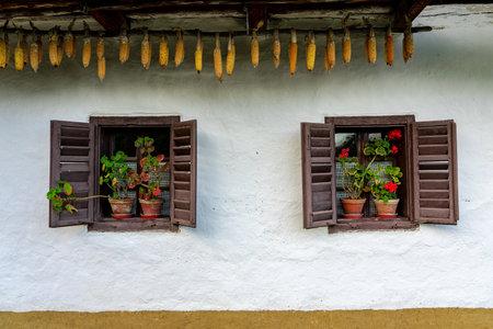 windows in Pityerszer traditional village in Őrség Hungary Reklamní fotografie
