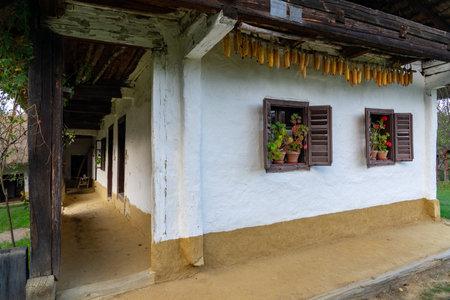 windows in Pityerszer traditional village in Őrség Hungary 免版税图像