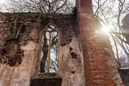 Pauline monastery ruin windows on the hungarian hiking trail near Badacsony in Salfold