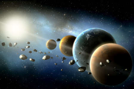 planets round the sun in the Solar system with asteroids in the colorful starry universe