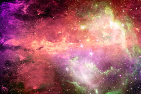 Magical surreal colorful space background with many stars