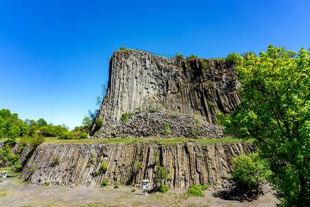 Hegyestu geological basalt cliff in kali basin hungary near Koveskal