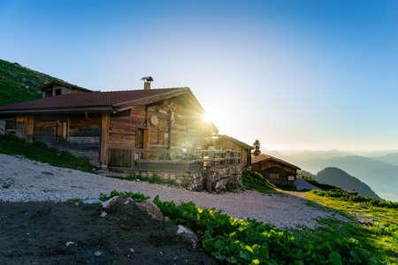 tyrol morning sunrise over the hutte on the tiroler alpen