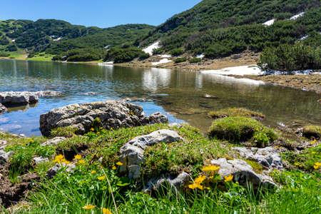 stunning zireiner see lake in tyrol alm mountains Austria