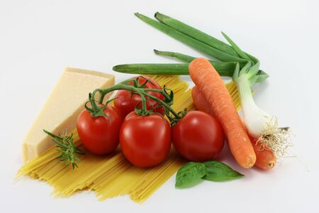 ingredients of italian cuisine on a white background photo