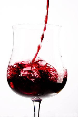 red wine splashing in a glass