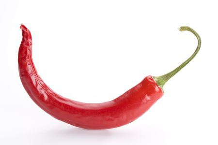 single red hot chili pepper on white background