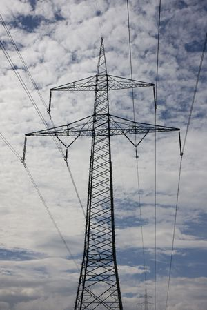 isolators: electricity pylon on a cloudy day