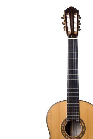 neck�: detalle de una guitarra el cuello en el fondo blanco Foto de archivo