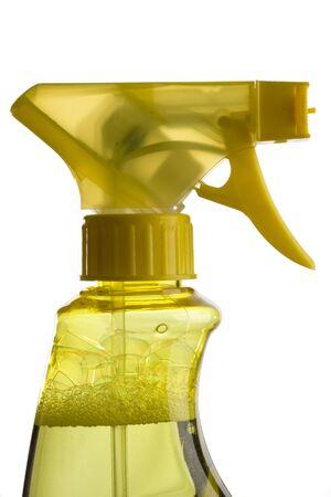 trigger: azul y amarillo de activaci�n botellas de spray Foto de archivo