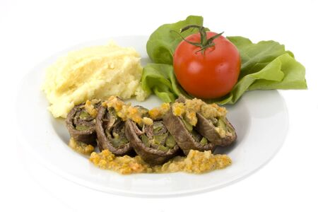 roulade with mashed potatoes photo