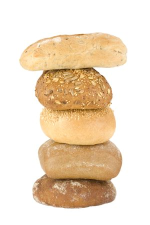 assortment of baked buns on white background Stock Photo