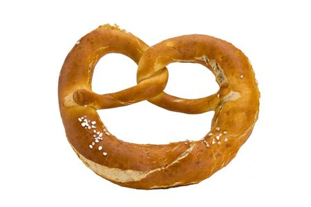 bavarian pretzel isolated on white background Stock Photo